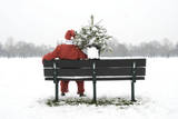 Snow Father Christmas Sitting on Park Bench