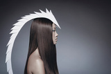 Female Model Wearing White Head Piece