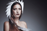 Female Model Wearing White Headdress