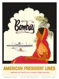 Bombay Mumbai India, Indian Woman in Red Sari, American President Lines Reproduction d'art