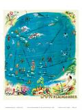 Map of the Polynesian Islands, Don the Beachcomber Tiki Bar and Restaurant Reproduction d'art
