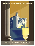 Washington D.C., President Lincoln Memorial, United Air Lines Reproduction d'art par Joseph Binder