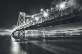 San Francisco Cityscape in Black and White  Bay Bridge