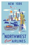 New York  USA  Manhattan  Fly Northwest Orient Airlines