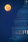 Dome of Capitol Building with Full Moon