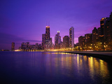 Usa  Illinois  Chicago Skyline and Lake Michigan  Night