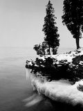 Usa  Wisconsin  Lake Michigan  Shore Scenic  Winter (B&W)