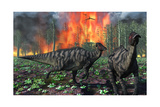 Parasaurolophus Duckbill Dinosaurs Fleeing a Deadly Forest Fire
