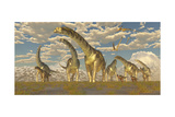 Hypsilophodon and Pteranodon Dinosaurs Accompany a Herd of Argentinosaurus