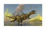 Yangchuanosaurus Dinosaurs Running across a Stream as a Volcano Erupts