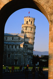 Leaning Tower Framed by Arch  Pisa  Tuscany  Italy  Europe