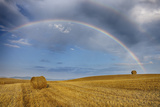 Rainbow over Harvested Wheat Field  Summer