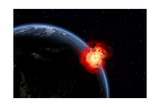 A Powerful Explosion on Earth's Surface from a Colliding Asteroid Impact