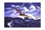 A Pteranodon Soars Just Above the Waves