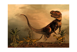 A Torvosaurus on the Prowl While a Group of Ornitholestes Flee a Hasty Retreat