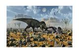 Tyrannosaurus Rex Feeding on a Triceratops Carcass