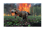 Tyrannosaurus Rex Fleeing from a Deadly Forest Fire