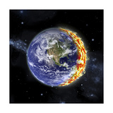 An Artist's Depiction of Planet Earth Catching on Fire