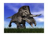 Zuniceratops Dinosaur Running in the Grass
