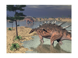 Kentrosaurus Dinosaurs Walking in the Water Next to Sand and Trees
