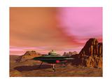 Ufo Landing on a Desert Landscape
