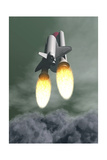 Space Shuttle Taking Off Amongst Grey Smoke and Clouds
