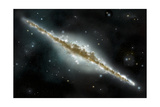 An Artist's Depiction of a Large Spiral Galaxy Viewed from Edge On