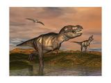 Tyrannosaurus Rex Dinosaurs with Pteranodon Bird Flying Above