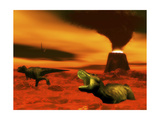 Tyrannosaurus Rex Dinosaurs Struggle to Survive from a Volcanic Eruption