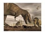 Tyrannosaurus Rex Roaring at Two Triceratops on Rocky Terrain
