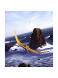 A Pteranodon Soars Above the Ocean and Rocks