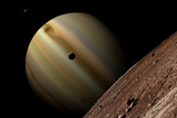 Artist's Depiction of a Gas Giant Planet Surrounded by Three Moons