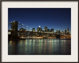 Manhattan Skyline and Brooklyn Bridge at Dusk  New York City  New York  USA