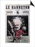"Caricature of Victor Hugo as Zeus in Exile on Guernsey from the Front Cover Of""Le Hanneton"""
