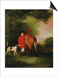 Portrait of Lord Lismore in a Hunting Coat with His Bay Hunter and a Hound  in a Landscape  a