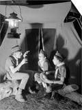 3 Boy Scouts Sitting Tent Night Telling Ghost Stories