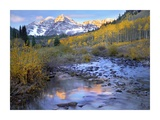 Maroon Bells and Maroon Creek in autumn  Colorado