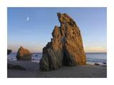 Crescent moon over El Matador Beach  Malibu  California
