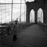 Giuseppe Ungaretti on the Brooklyn Bridge in Front of Manhattan Skyline