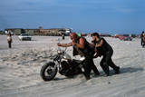 Three Bikers Take the Sand Off their Chromium-Plated Motorbikes
