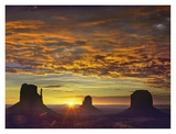 The Mittens and Merrick Butte at sunrise  Monument Valley  Arizona