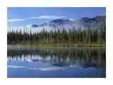Lake reflecting mountain range and forest  Kluane National Park  Yukon  Canada
