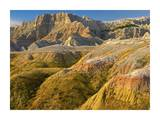 Eroded buttes showing layers of sedimentary rock  Badlands National Park  South Dakota