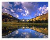 Haystack Mountain reflected in beaver pond  Maroon Bells  Snowmass Wilderness  Colorado
