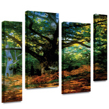 Bodmer at Oak at Fountainbleau 4 piece gallery-wrapped canvas