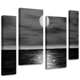 Moon Rising 4 piece gallery-wrapped canvas