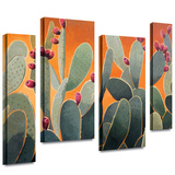 Cactus Orange 4 piece gallery-wrapped canvas