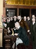 Alexander Graham Bell Making Telephone Call