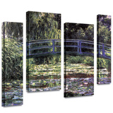 Bridge at Sea Rose Pond 4 piece gallery-wrapped canvas