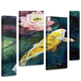 Michael Creese Koi and Lotus Flower 4 piece gallery-wrapped canvas